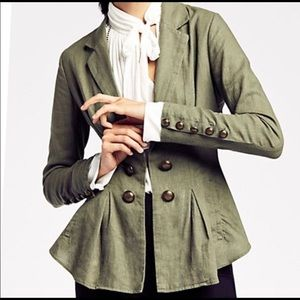 Free People Green Linen Military Style Blazer